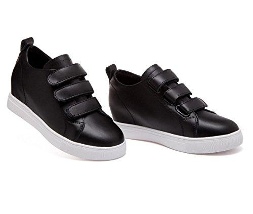 WZG chaussures Velcro chaussures en cuir ont augmenté les femmes célibataires la version chaussures blanches coréenne de chaussures de sport dans le nouveau Black