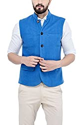 Owncraft Mens Woolen Nehru Jacket (Own_404_Blue_40)