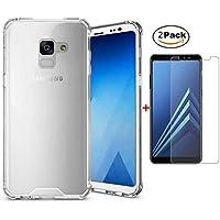 Lanpangzi für Samsung Galaxy Note 9 Hülle TPU Silikon Slim Handyhülle + 2*Gehärtetes Glas Displayschutzfolie Luftpolster-Technologie Transparent Bumper Schutzhülle