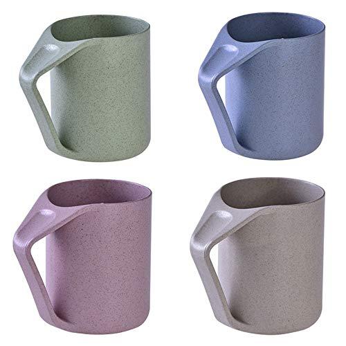 Körper Milch Set (Ljlpropyh Set Becher Mundwasser Tasse Zahnbürste Tasse Weizenstroh Innovative Retro Umweltfreundliche Griff Home für Wasser Kaffee Milch Tee 4 Pcs)