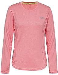 Li-Ning 681103881A, Camiseta de Manga Larga de Deporte Para Mujer, Rosa, XL