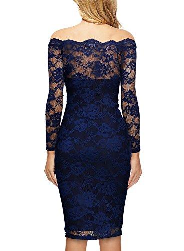 MIUSOL Damen Schulterfrei Spitze Cocktailkleid Etuikleid langarm Stretch Kleid Blau Gr.L - 2