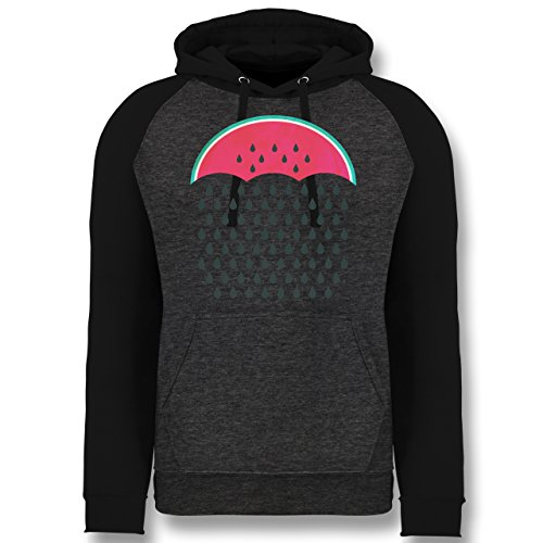 Statement Shirts - Watermelon Rain - L - Anthrazit meliert/Schwarz - JH009 - Baseball Hoodie