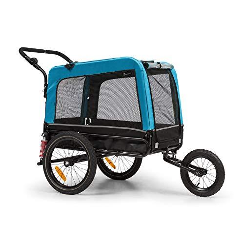 KLAR FIT Klarfit Husky Vario 2-en-1 - remorque et Poussette pour Chien, env. 240 litres de Volume, matériel : 600D Oxford Canvas, SmartSpace Concept, Charge maximale : 40 kg, Bleu
