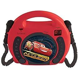 Lexibook Disney Pixar Cars Flash McQueen Lecteur CD pour enfant avec 2 microphones jouets, prise écouteurs, à piles, Rouge/Noir, RCDK100DC
