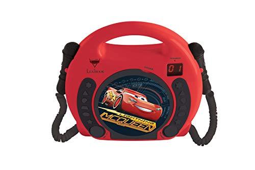 Cars Cd-player (Lexibook Disney Pixar Cars Lightning McQueen CD-Player mit 2 Spielzeug-Mikrophonen, Kopfhöreranschluss, Batteriebetrieben,Rot / Schwarz, RCDK100DC)