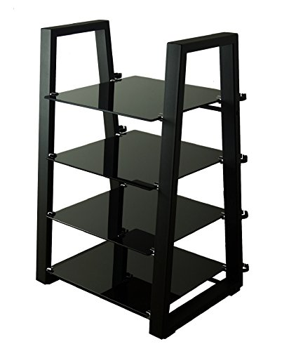 Mountright Designer Glass Hifi Stand/Shelving Unit - 4 Shelf (Black Frame - Black Glass)