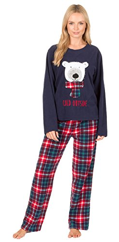 - 41wPdW 2BPe0L - Ladies Bear Owl Penguin Long Sleeve Fleece Pyjamas Winter Warm Lounge Wear