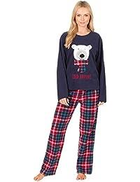 Insignia Ladies Bear Owl Penguin Long Sleeve Fleece Pyjamas Winter Warm Lounge Wear