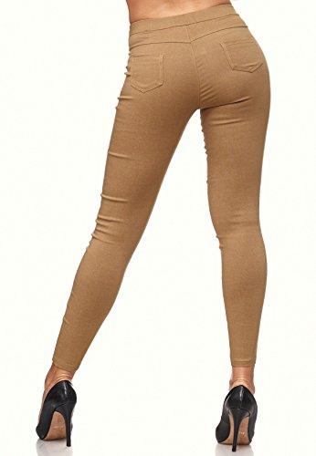 Donna Stretch Jeans Pantaloni a vita bassa (tubo) D1943 MARILYN Cammello