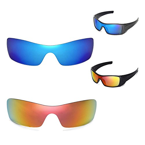 Walleva Polarisierte Fire Red + Ice Blue Gläser für Oakley Batwolf Sonnenbrille