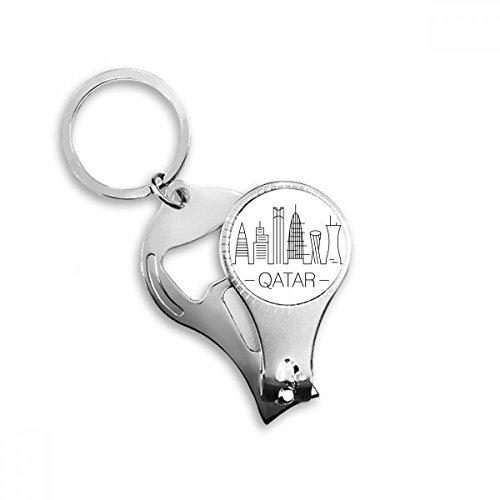 simple-line Zeichnen handgemaltes Katar Stadt Metall Schlüsselanhänger Ring Multifunktions-Nagelknipser Flaschenöffner Auto Schlüsselanhänger Best Charm Geschenk