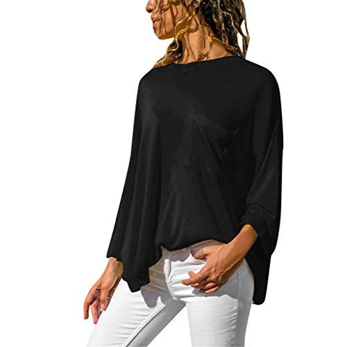 Tohole Damen Langarmshirt Schulterfrei Oberteil Pullover für Damen V-Ausschnitt Shirt Langarm Bluse Tops Cross Front Trägerlos Sexy Lange Ärmel(Schwarz 3,L)
