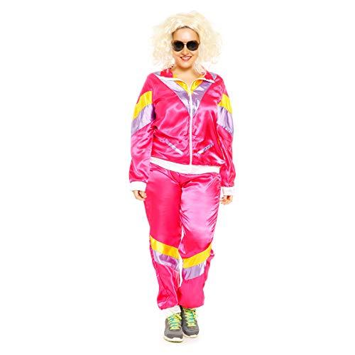 Karneval Kostüm Jogginganzug - Anladia 80er Jahre Retro Trainingsanzug Jacke
