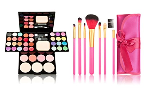 TimeSong Professional Cosmetic Makeup Palette Set Kit (Include: Eyeshadow & Blusher & Face Powder & Lip Gloss) + Makeup Brushes Set (7pcs Pink Brushes)