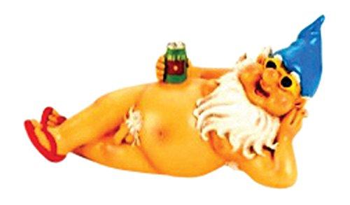 IKO Nackter Gartenzwerg mit Bier und Zipfelmütze Zwerg 26 cm XL (3-er Set)
