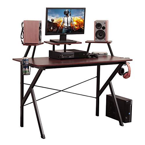 DlandHome Escritorio para computadora de Juegos, Mesa de Juego/estación de Trabajo de 120 * 60 cm con Soporte para Monitor, Soporte para Altavoz y Soporte para Auriculares, YX001-WB Nogal & Negro