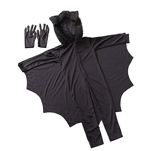 Abito bat unisex vampire bat animal costume di halloween con i guanti per i bambini del partito decorazione di halloween nero m 1set