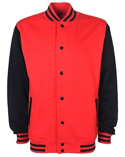 Fdm Fdm Unisex Varsity Jacket Fire Red/black Xs