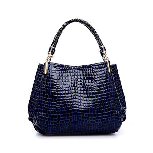 XUZISHAN Marke Fashion Frauen Leder Tasche Damen Patent Muster Handtasche Schultertasche Weibliche Tote Bag, Navy Blue - Patent Shopper Tote
