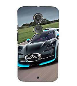 FUSON Blue Sports Car Race 3D Hard Polycarbonate Designer Back Case Cover for Motorola Moto X2 :: Motorola Moto X (2nd Gen)