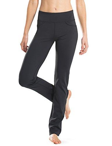 Safort Regular/Tall Straight-Leg Yoga Hose mit 71cm/76cm/81cm/86cm Schrittlänge, 4 Hosentaschen, undurchsichtig, schwarz, XL
