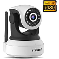 LEMNOI SP017 Telecamera di Sorveglianza Wireless1080P HD IP Camera WiFi/Ethernet con Istruzioni per l'uso App Sricam/DVR/NVR Assistenza in Italiano Compatibile con iOS /Android/Windows PC