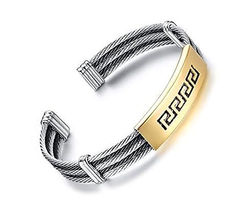 VnoxHommes en acier inoxydable Grec Clé Engraved Cable Wire Bracelet Bracelet Bracelet Or