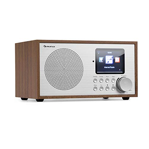 auna Silver Star Mini Internetradio mit Bluetooth - DAB+/UKW Radio, WLAN, USB, AUX-In, Line-Out, 8 W RMS, HCC-Display, inkl. Fernbedienung, Eiche
