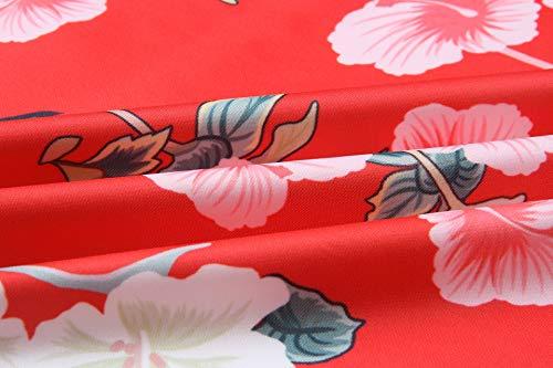 ECOWISH Damen Casual Jacke Blumenmuster Langarm Bomberjacke Reißverschluss Stehkragen Outwear Kurz Coat Herbst Frühling Rot S - 6