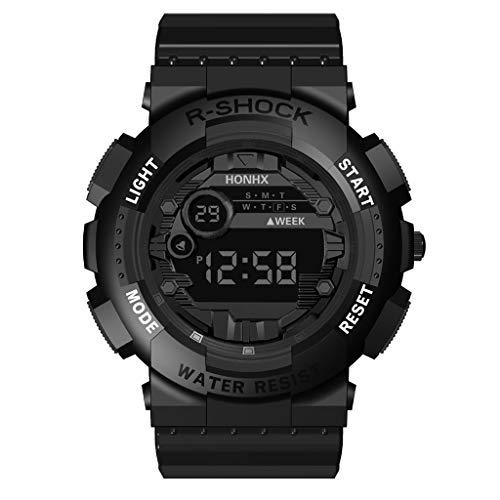 HHyyq Sport Digitaluhr Weiche Armbanduhr Wasserdichtes Schwimmen Outdoor Aktivitäten Teenager Herren Funktionsuhr mit Uhrzeit, Alarm, Countdown, Glockenspiel, Schlummerfunktion(Schwarz)