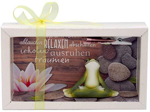 ZauberDeko Geldgeschenk Verpackung Wellness Entspannung Massage Yoga Frosch Gutschein Energiefrosch Relax Geschenk