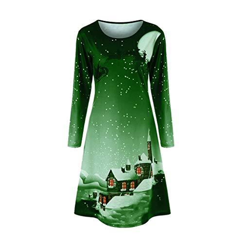 VEMOW Herbst Elegante Damen Mode Halbe Hülse Weihnachtskatzendruck Vintage Lässig Tägliche Party Schaukel Minikleid 2018(A-Grün, EU-40/CN-XL)