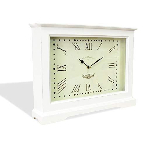 DRULINE Tischuhr Kaminuhr Uhr Standuhr XXL mit Römischen Ziffern aus Holz im Shabby Chic Stil Used Look| 1702 | 33282 | L x B x H 40 x 8 x 30 cm | Weiß
