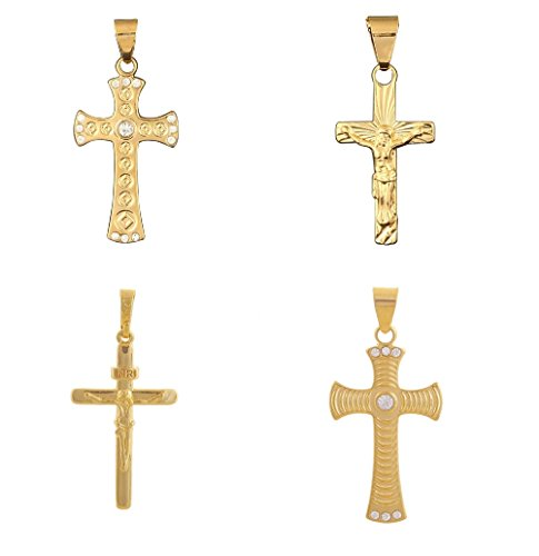 BellaMira 18K Gold Plated Cross Crucifix Pendant With Gold Chain Faith Necklace Hope Inspirational Jewellery in Elegant Gift Box