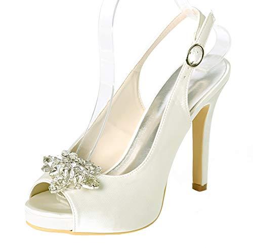 Seraph donna sandalo in raso con cinturino alla caviglia décolleté con tacco a spillo in punta di strass scarpe da sposa 6041-10a,ivory,38eu
