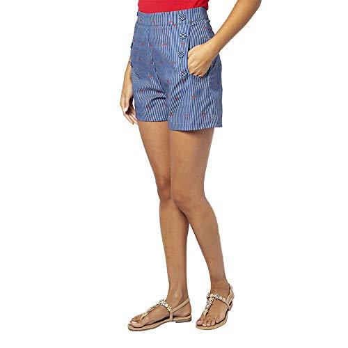 Voodoo Vixen Sailor Ciliegie e Strisce Pantaloncini - Blu XL