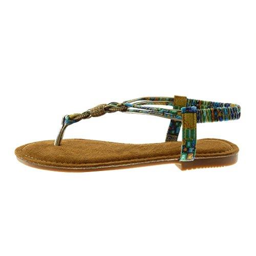 Angkorly Chaussure Mode Sandale Tong Slip-On Salomés Folk Femme Fantaisie Bijoux Talon Bloc 1.5 CM Camel