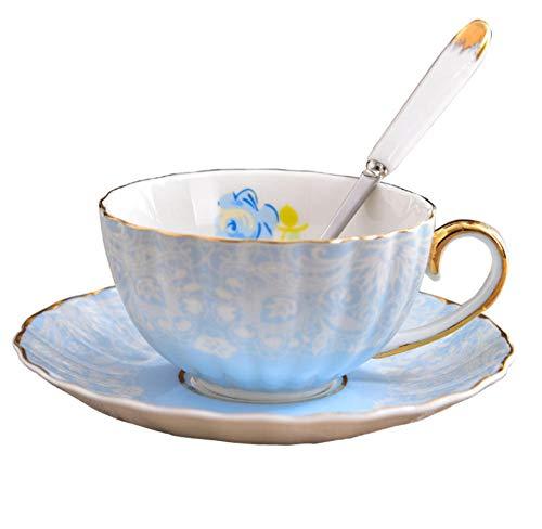 HYDWX European Bone China Cup Hochwertige Blume Teetasse Keramik Kaffeetasse Teller Phnom Penh Mit Löffel - Blaue Rose