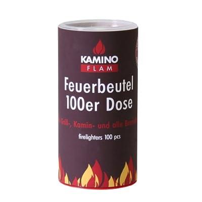 KAMINO FLAM Feuerbeutel 333169, 100 Anzünder in einer handlichen Dose, die Brenndauer der Feuertaschen beträgt ca. 10 Minuten, Anzündbeutel für den Grill-, Kamin oder alle Brennöfen, die Ofenanzünder bestehen aus N-Paraffin in Spezialfolie zum Mitanzünden