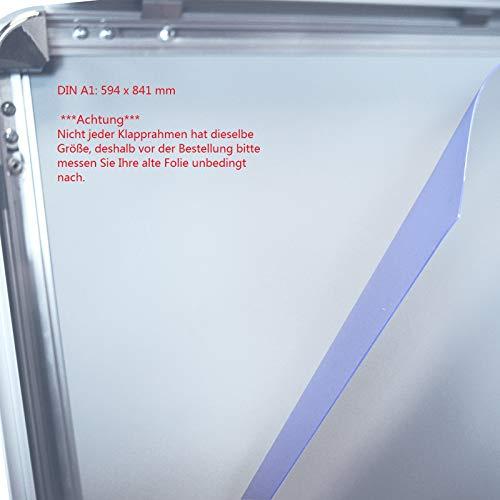 2 Stück DIN A1 (59,4 x 84,1 cm) Ersatzfolie Schutzfolie Folie für Kundenstopper Plakatrahmen DIN A1 (59,4 x 84,1 cm) Bitte prüfen Sie vor der Bestellung