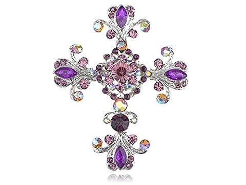 Alilang Silvery Tone Victorian Inspired Flourish Flower Clear Crystal Rhinestone God Cross Pin Brooch
