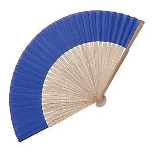 eBuyGB - Abanico de madera de bambú, accesorio de boda y regalo, color azul