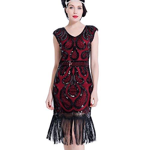 Damen Flapper Kleider V Ausschnitt Fringe Pailletten Vintage Gatsby Kleid Art Deco für Prom Party Fringe Kleid