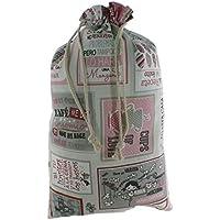 CAL FUSTER - Bolsa para el pan de tela estampada, Frases. Medidas: 57x37 cm.