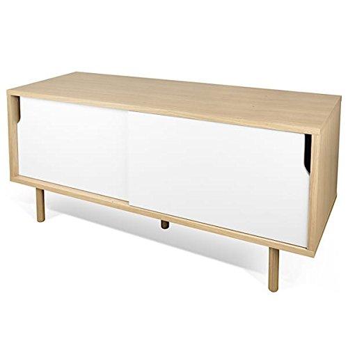 DANN, buffets à portes coulissantes, avec ou sans tiroirs - DANN 135, pieds bois, Structure en chêne (placage), portes en blanc mat