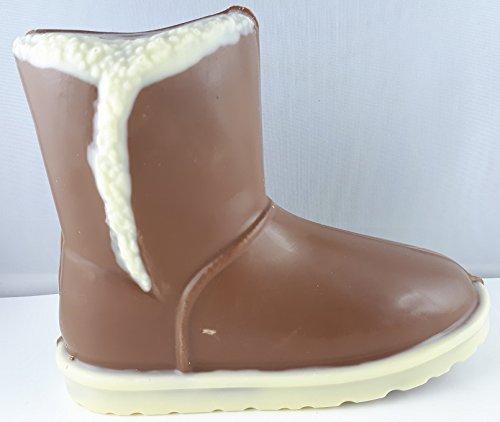 01#071518 Schokoladen Boots (01) Valentinstag, Muttertag, Vollmilch Schokolade mit weißen Streifen, Geburtstag, Schuhe, Damenschuh, Geschenke, Geschenk, NEU (Schokolade Sohle)