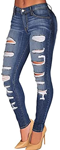 Bling-Bling Womens Casual Washed Ripped Whisker Skinny Denim Jeans Size XL