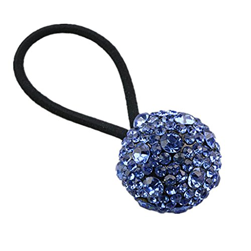 Sharplace Elastischer Haargummi mit Kristall Kugel Haargummi Bands Seil Pferdeschwanz Halter für Kommunion Hochzeit Kopfschmuck - Blau - Band Kugel-hochzeit