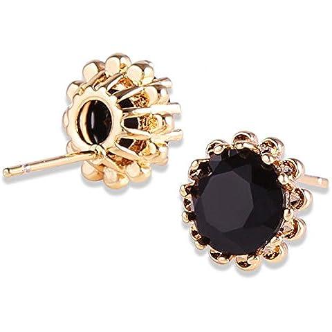 Bling fashion Luxury CC orecchini oro bianco 18K Placcato Nero Zircone Orecchini e018b